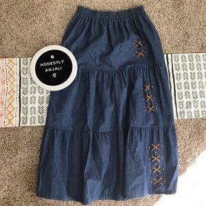 VTG Tiered Denim Maxi Stud Prairie Festival Skirt